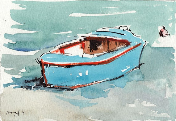 Original Painting Boat Nautical Orange Blue Sea Ocean Watercolor Sketch Drawing 5x7 Line and Wash - Blue Boat by David Lloyd