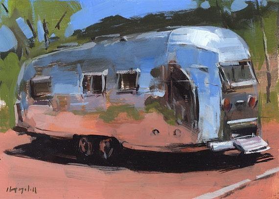 Art Print Painting Retro Airstream Desert Auto Camping Outdoors - Airstream at Palo Duro by David Lloyd