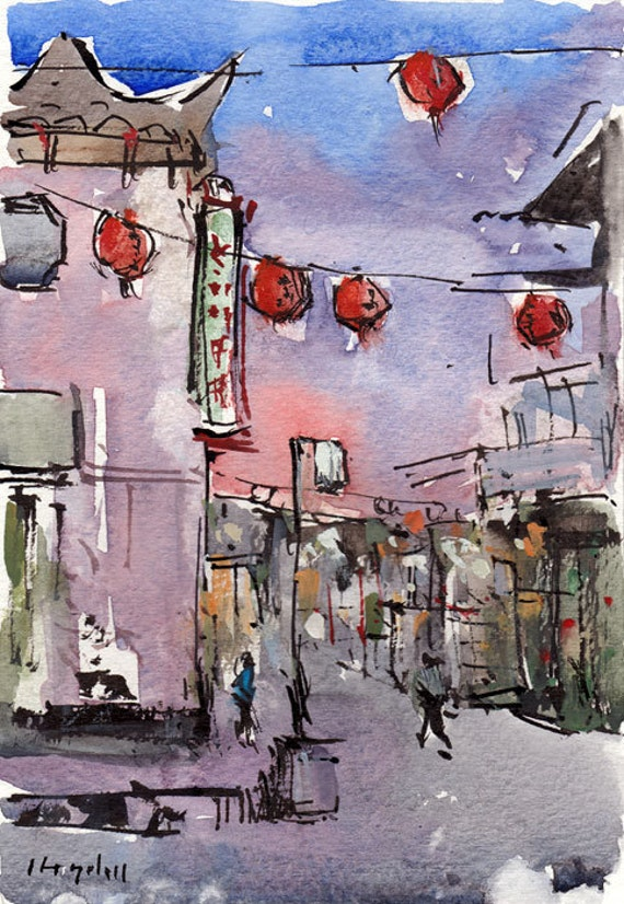 Original Painting Cityscape Ink Urban Watercolor By