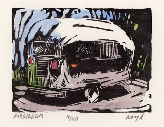 Original Block Print Hand Pulled Hand Painted Airstream Limited Edition - Airstream by David Lloyd