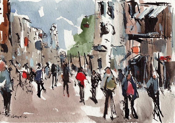 Original Cityscape Painting Ink Urban Watercolor City Sketch 5x7 Line and Wash - Shops by David Lloyd