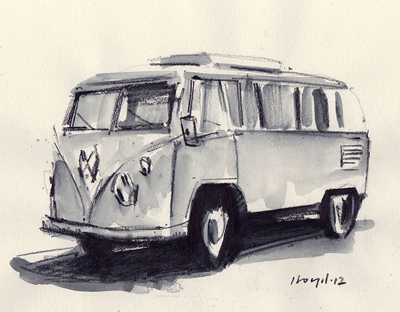 vw bus sketch the image kid has it. Black Bedroom Furniture Sets. Home Design Ideas