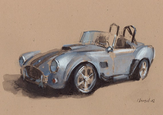 Art Print Car Painting Cobra Retro Silver - Cobra by David Lloyd
