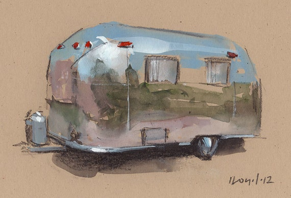 Original Painting Airstream Vintage Auto Watercolor Sketch Drawing 5x7 Line and Wash - Airstream by David Lloyd