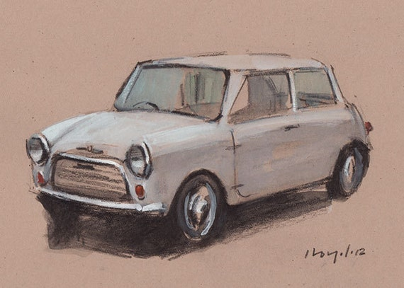 Original Painting Mini Cooper Vintage Auto Watercolor Sketch Drawing 5x7 Line and Wash - White Mini Cooper by David Lloyd