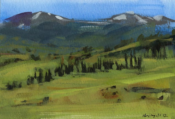 Original Painting Landscape Colorado Mountains 5x7 Acrylic Quick Study - Colorado Meadow by David Lloyd