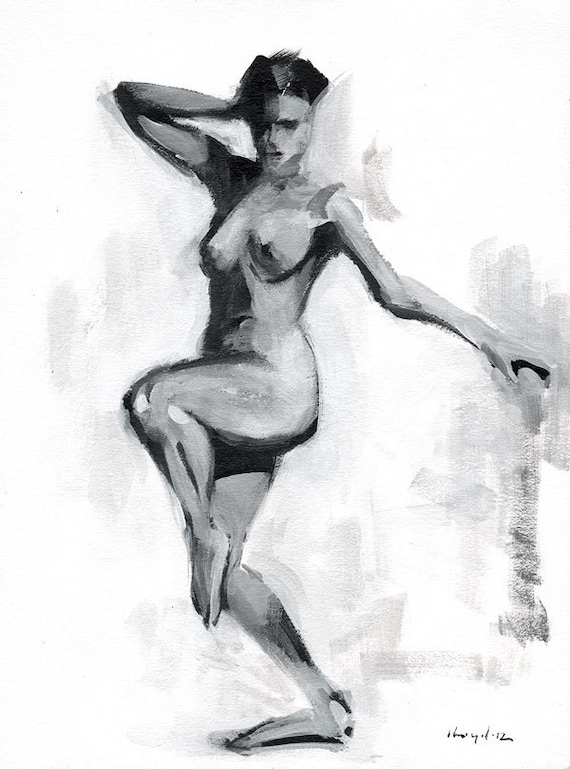 "Original Painting Figure Study Classical Female Form Nude Monochrome Sketch 9x12 - ""Tonal Figure Study 3"" by David Lloyd"