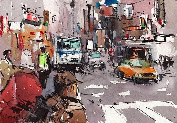 Original Cityscape Painting Ink Urban Watercolor City Sketch