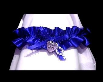 CIRCLE OF LOVE ROYAL BLUE WEDDING GARTER PROM SWAROVSKI LOVE HEART