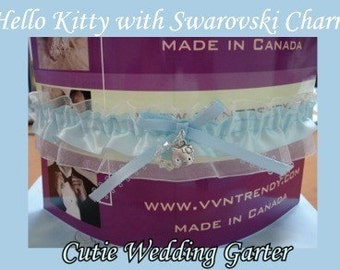 Cat Kitty Charm White Blue Swarovski Wedding Garter Keepsake Bridal Gift