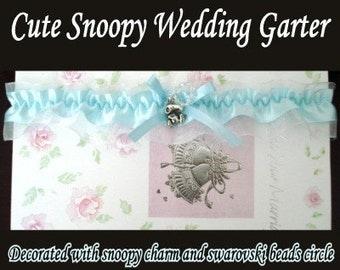 Snoopy Charm White Blue Swarovski Wedding Garter Keepsake Bridal Gift