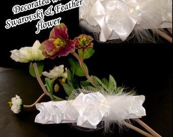 Feather White Swarovski Wedding Garter Garters Set Bridal Elegance