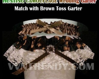 Camo Camouflage Wedding Garter Toss Garters Set Swarovski Beads Green Brown