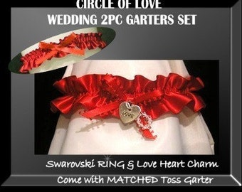 CIRCLE OF LOVE SEXY RED WEDDING GARTERS GARTER 2PC SET PROM SWAROVSKI