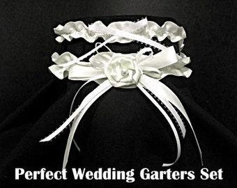 Elegant White ROSE Wedding Garter Keepsake Bridal Gift Garters 2pc set