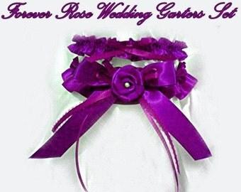 Plum Purple ROSE Wedding Garter Keepsake Bridal Gift Garters 2pc set