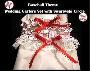 SPORT BASEBALL Fans handmade Wedding Garter 2PC Garters Set Prom toss bridal party honeymoon