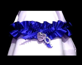 Circle of love wedding garter blue or other colour SWAROVSKI LOVE HEART