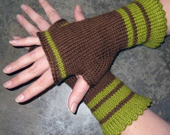 Pattern, Simple Stripes Fingerless Gloves