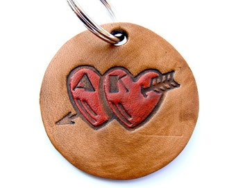 Personalized Keychain Leather Art Deco Letters Hand Stamped Hearts