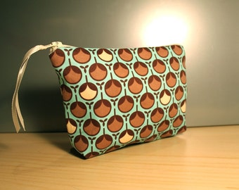 50% Off Sale: Blue and Brown Bud Zipper Pouch