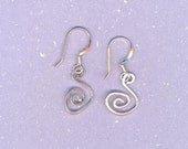 Super Simple 5 Dollar Silver Spiral Squiggles Earrings