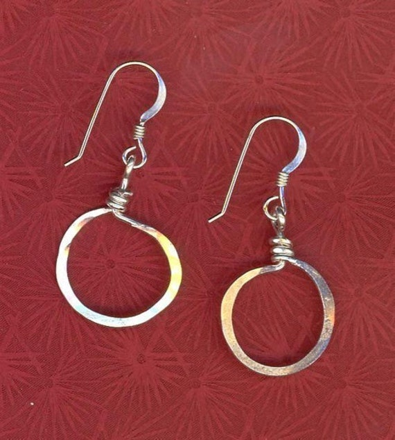 Wrapped Hoop Earrings in Hammered Sterling Silver