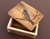 Rustic Small Barnwood Trinket BOX ...with woodburnt songbird