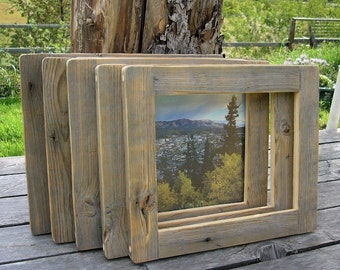 Barnwood FRAME (8x10) handmade from reclaimed weathered wood - rustic refined