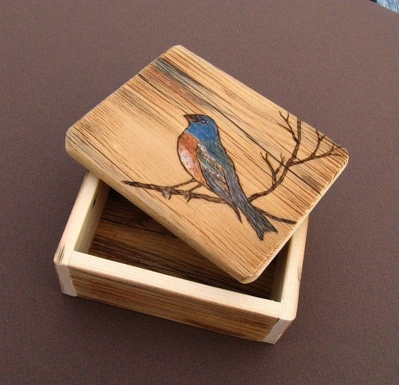 Rustic Small Barnwood Trinket BOX ...with woodburnt songbird
