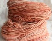 Handspun Hand Dyed Yarn - peach pumpkin