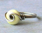 Artisan Lampwork and Sterling Silver Wire Wrapped Ring
