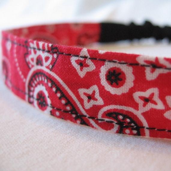 Janis' Red Bandana skinny fabric headband