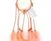Peach Dream Catcher, Turkey Flat Feathers