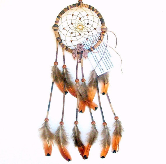 Dream catcher tie dyed earthtones pheasant heart feathers for How to tie a dreamcatcher web