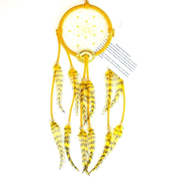 Yellow Dream Catcher, Grizzly Rooster Feathers