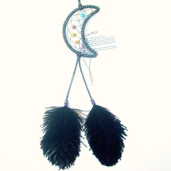 Metallic Black Moon Dream Catcher, Ostrich Feathers