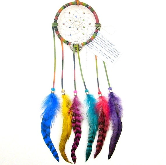 Tie-Dyed Brights Dream Catcher, Grizzly Rooster Feathers