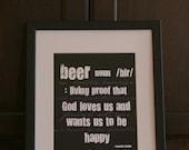 Benjamin Franklin Quote Beer 8x10 print