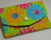 2 Pocket Business Card Mini Wallet Pouch - Bright Daisy