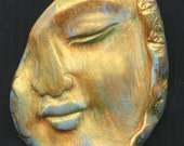 Polymer Buddha Face Shard Cab  BDSH 1