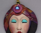 Polymer OOAK Asian  Ready to Wear  Face Pendant with Abstract hat DFP2