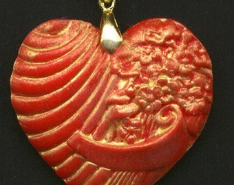 Back Stock Sale Polymer Ready To Wear Red Gold  Heart Pendant RTH 2