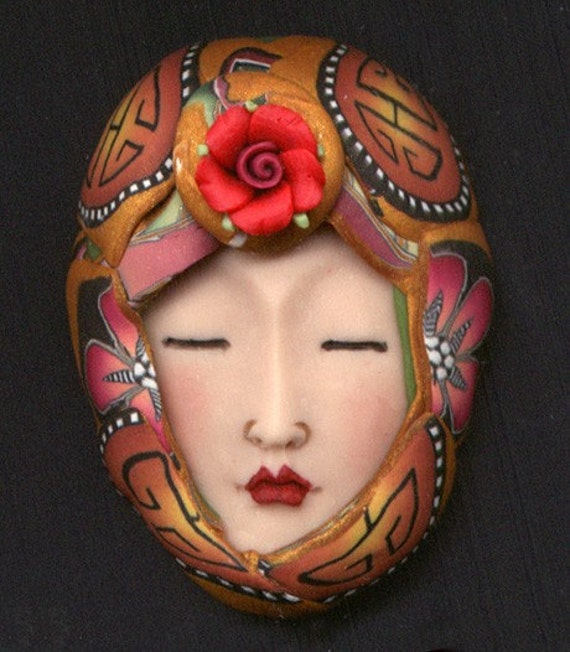 One of a Kind Art Doll face with Faux Fabric Clay Hat wrap ADFH 10