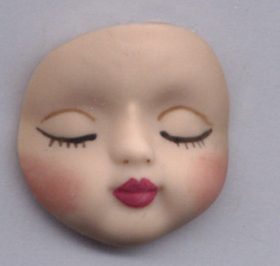 Polymer Clay  Closed Eyed Round  Baby Face NBB 1