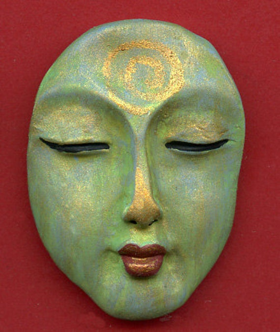 Polymer OOAK Buddha Face  Cab  Abstract BFC 1