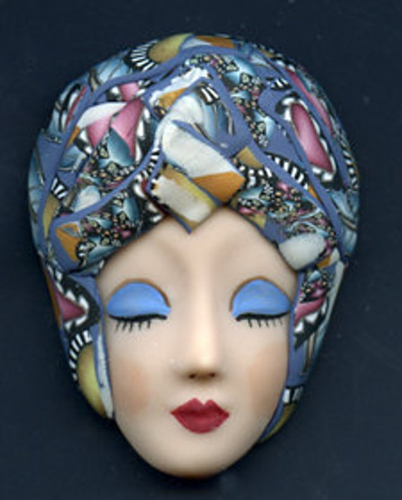 One of a Kind  Larger Art Doll face with Faux Fabric Clay Hat LFF 2