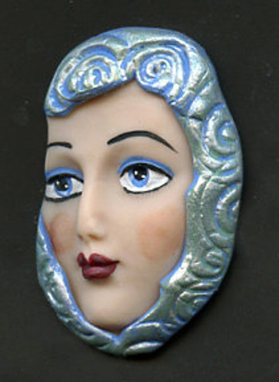 Polymer Clay  Detailed Textured  Face  Cab  Blue  ANCB1