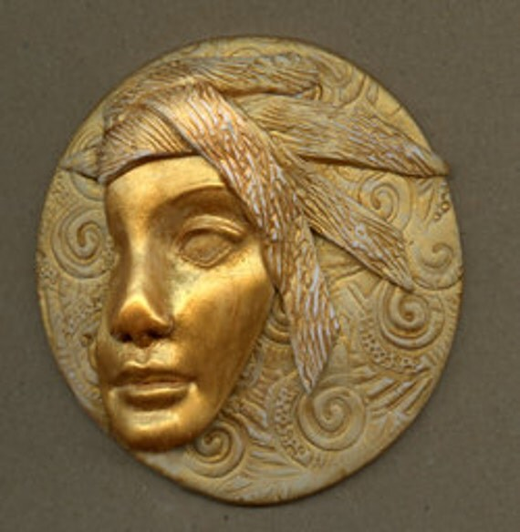 Polymer Clay Large Golden Face Profile Medallion LAM 4