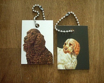 Spaniels Luggage ID Tags or Keychains - Dogs - Water Spaniel Clumber Spaniel - Recycled
